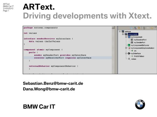 artop. workspace integration. - bmw car it gmbh