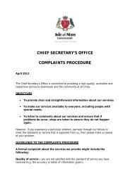 Chief Secretary's Office complaints procedure - Isle of Man ...
