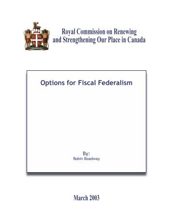 Options for Fiscal Federalism - Government of Newfoundland and ...