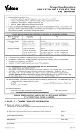 Application for Storage Tank System Permit - Government of Yukon