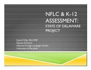 NFLC & K-12 Assessment: State of Delaware Project. - ILR