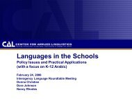 Languages in the Schools: Policy Issues and Practical ... - ILR