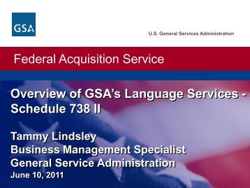 Overview of GSA's Language Services - Schedule 738-II - ILR