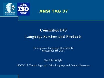 Technical Subcommittee F43.03, Language Translation - ILR