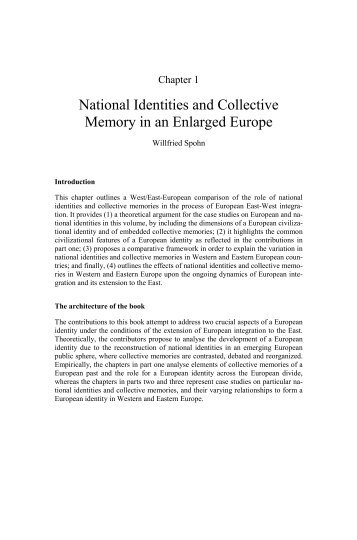 National Identities and Collective Memory in an Enlarged Europe