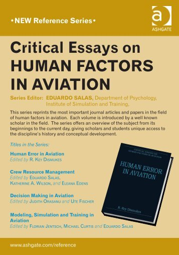 Critical Essays on Human FaCtors in aviation - Ashgate