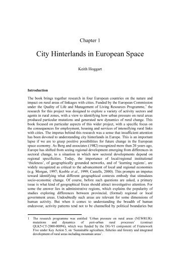 Chapter 1 - City Hinterlands in European space - Ashgate