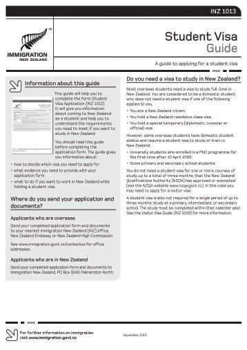Student Visa Guide (INZ 1013) - GOzealand
