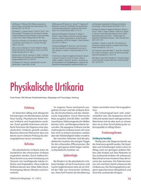 Physikalische Urtikaria - Gesellschaft für Pädiatrische Allergologie ...