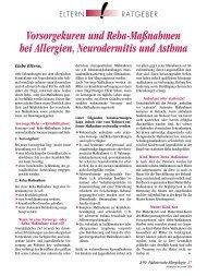 Vorsorgekuren und Reha-Maßnahmen bei Allergien, Neurodermitis ...