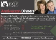 Focus on the Family Anniversary Dinners (Greg and Erin Smalley)