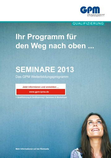 """Flyer """"Seminare 2013 - Ihr Programm für den Weg nach oben ..."""" (PDF)"""