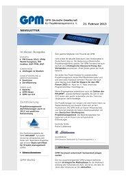GPM Newsletter 02/2013 - GPM Deutsche Gesellschaft für ...