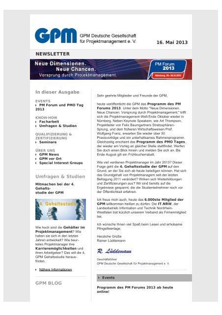 GPM Newsletter 05/2013 - GPM Deutsche Gesellschaft für ...