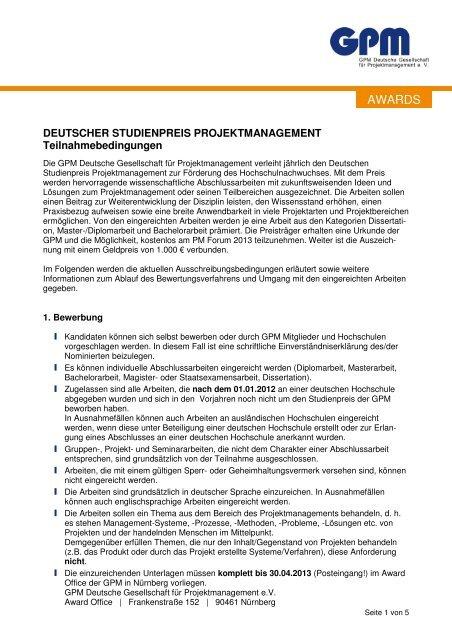 Teilnahmebedingungen Deutscher Studienpreis ...