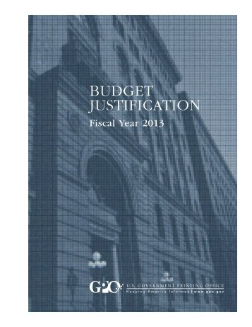 BUDGET JUSTIFICATION - U.S. Government Printing Office