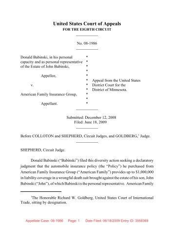 08-1986 - Donald Babinski v. American Family Insurance