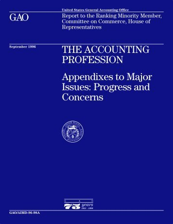 THE ACCOUNTING PROFESSION: Appendixes to Major Issues ...