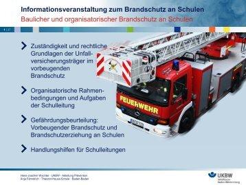 Informationsveranstaltung zum Brandschutz an Schulen Baulicher ...