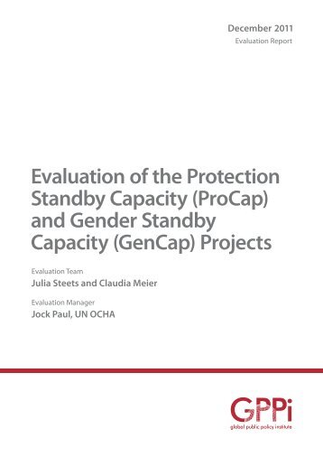Evaluation of the Protection Standby Capacity (ProCap) and Gender ...