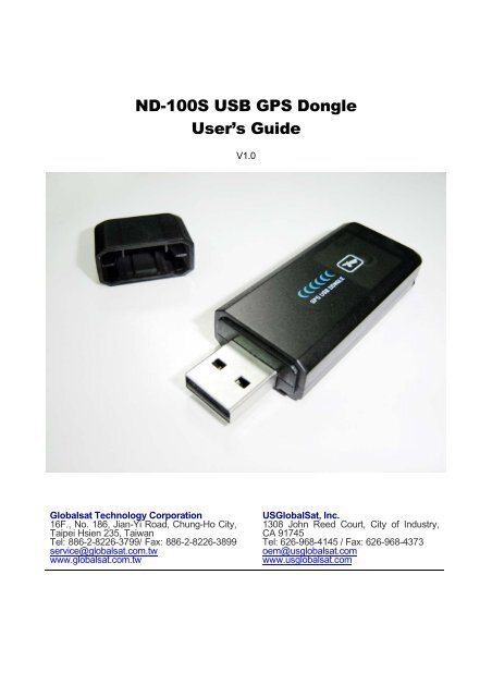 GLOBALSAT ND-100S USB GPS DONGLE WINDOWS XP DRIVER