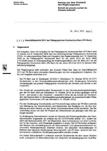 Kanton Bern Auszug aus dem Protokoll Canton de Berne des ...