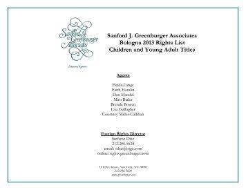 Sanford J. Greenburger Associates Bologna 2013 Rights List ...