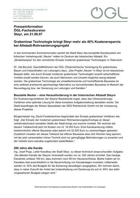 Presseinformation ÖGL-Fachexkursion Steyr, am 21.06.07 ... - OGL