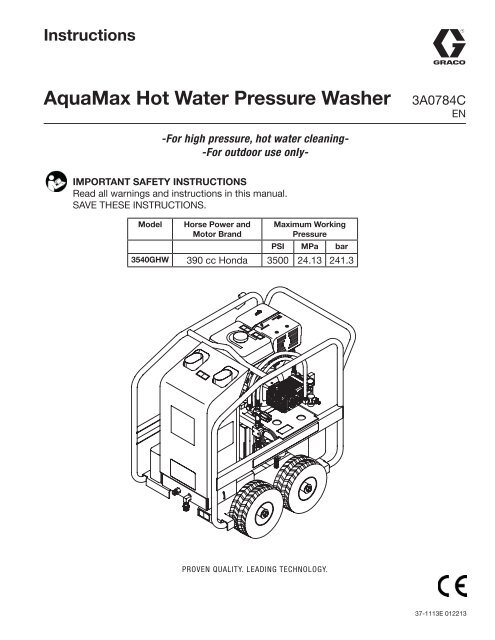 aquamax hot water pressure washer, instructions graco inc Portable Generator Wiring Diagram
