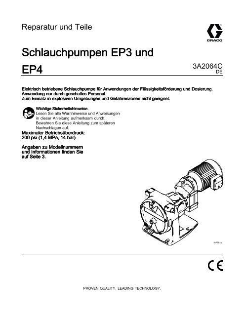 3A2064C EP3 and EP4 Hose Pumps, Repair-Parts ... - Graco Inc.