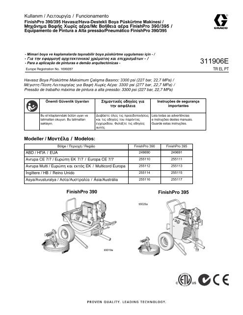 311906e Finishpro 390 395 Airless Air Assisted Graco Inc