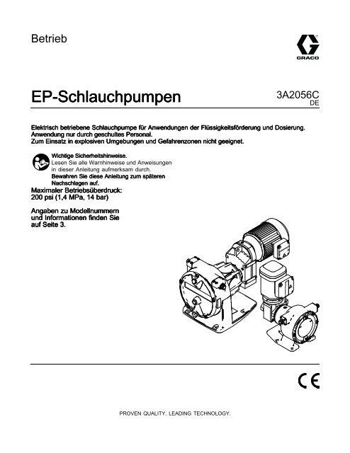 3A2056C, EP Hose Pumps, Operation, DE - Graco Inc.