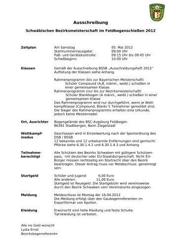 Ausschreibung - Schützenbezirk Schwaben - Bogen
