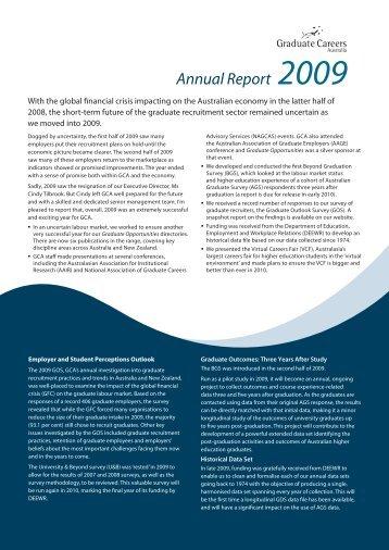GCA Annual Report 2009 - Graduate Careers Australia