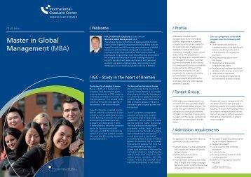 Master in Global Management (MBA) - International Graduate Center