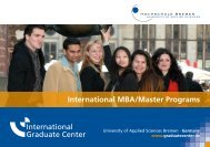 International MBA/Master Programs - International Graduate Center