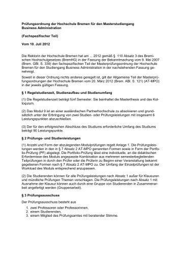 Masterprüfungsordnung 2012 – Fachspezifischer Teil - International ...