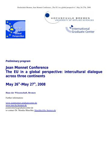 Jean Monnet Conference The EU in a global perspective ...