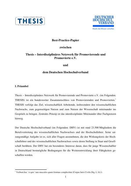 thesis für promovierende und promovierte e.v