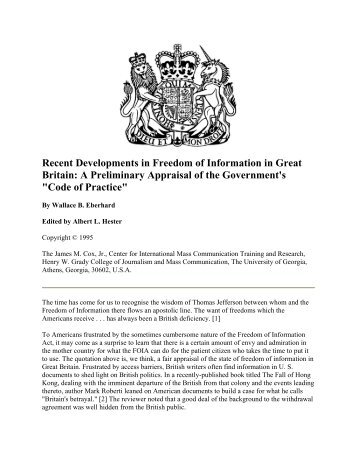 Recent Developments in Freedom of Information in Great Britain: A ...