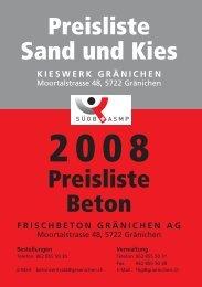 Preisliste Sand und Kies Preisliste Beton