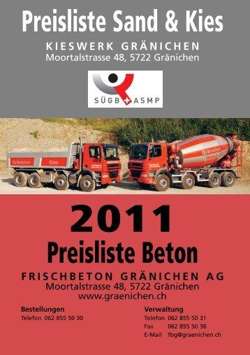 Preisliste 2011