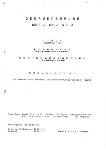 Bebauungsplan Haus i. Wald Süd - Deckblatt Nr. 1 - Stadt Grafenau