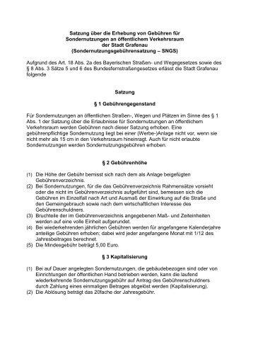 Satzung über die Erhebung von Gebühren für - Stadt Grafenau