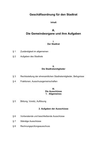 Geschäftsordnung für den Stadtrat 07.05.2008 - Stadt Grafenau