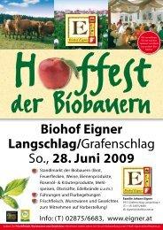 Biohof Eigner Langschlag/Grafenschlag So., 28. Juni 2009