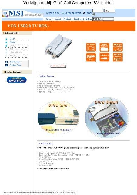 MSI Digi VOX USB2 0 TV Box (S36-0400060-K45) - Grafi-Call
