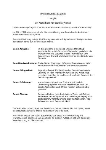 Drinks Beverage Logistics vergibt ein Praktikum für ... - Grafiker.de