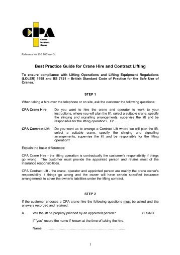 Best Practice Guide for Crane Hire and Contract Lifting