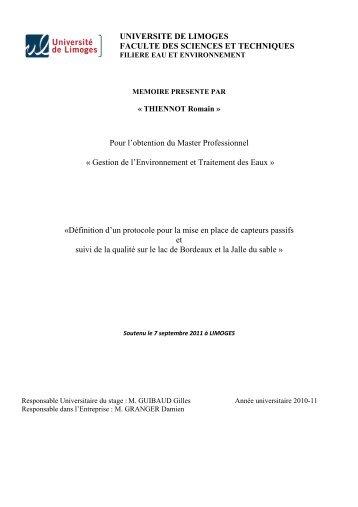 UNIVERSITE DE LIMOGES FACULTE DES SCIENCES ET ... - Graie